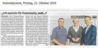 Risolva unterstützt die Metzinger Bürgerstiftung