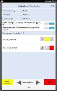 Anreiz für die Manipulation von Schutzeinrichtungen - Bewertungs-App
